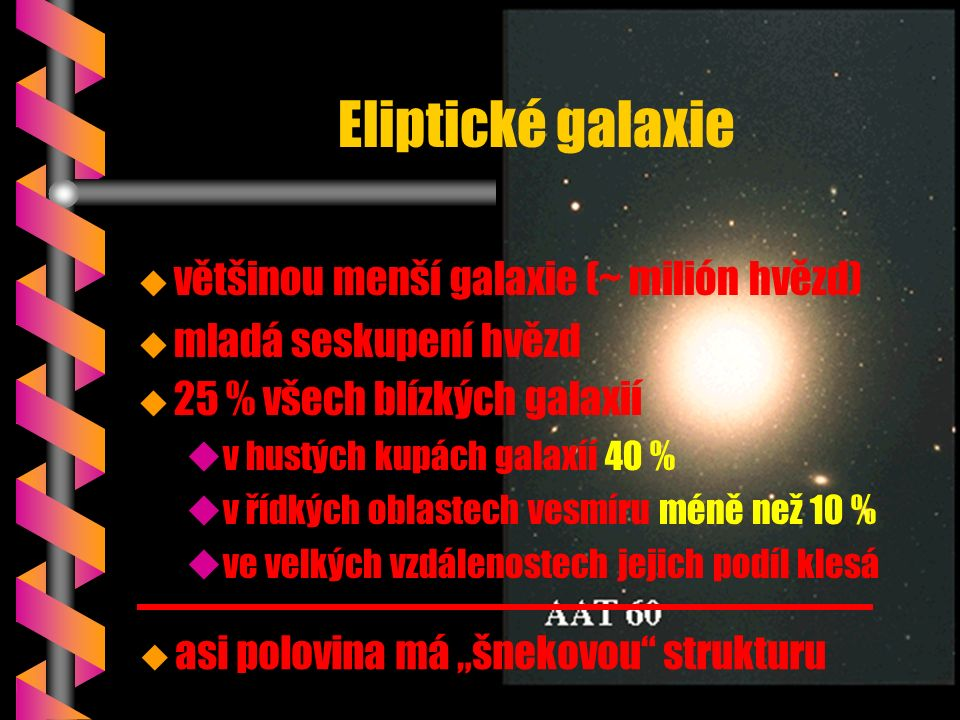 """Eliptické galaxie u u 25 % všech blízkých galaxií u uv hustých kupách galaxíí 40 % u uv řídkých oblastech vesmíru méně než 10 % u uve velkých vzdálenostech jejich podíl klesá u asi polovina má """"šnekovou strukturu u většinou menší galaxie (~ milión hvězd) u mladá seskupení hvězd"""