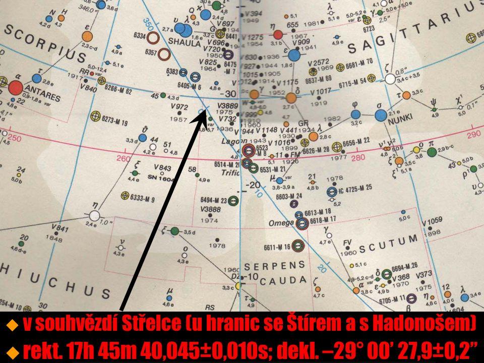 střed Galaxie u u v souhvězdí Střelce (u hranic se Štírem a s Hadonošem) u u rekt.