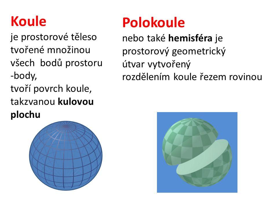 Koule je prostorové těleso tvořené množinou všech bodů prostoru -body, tvoří povrch koule, takzvanou kulovou plochu Polokoule nebo také hemisféra je prostorový geometrický útvar vytvořený rozdělením koule řezem rovinou