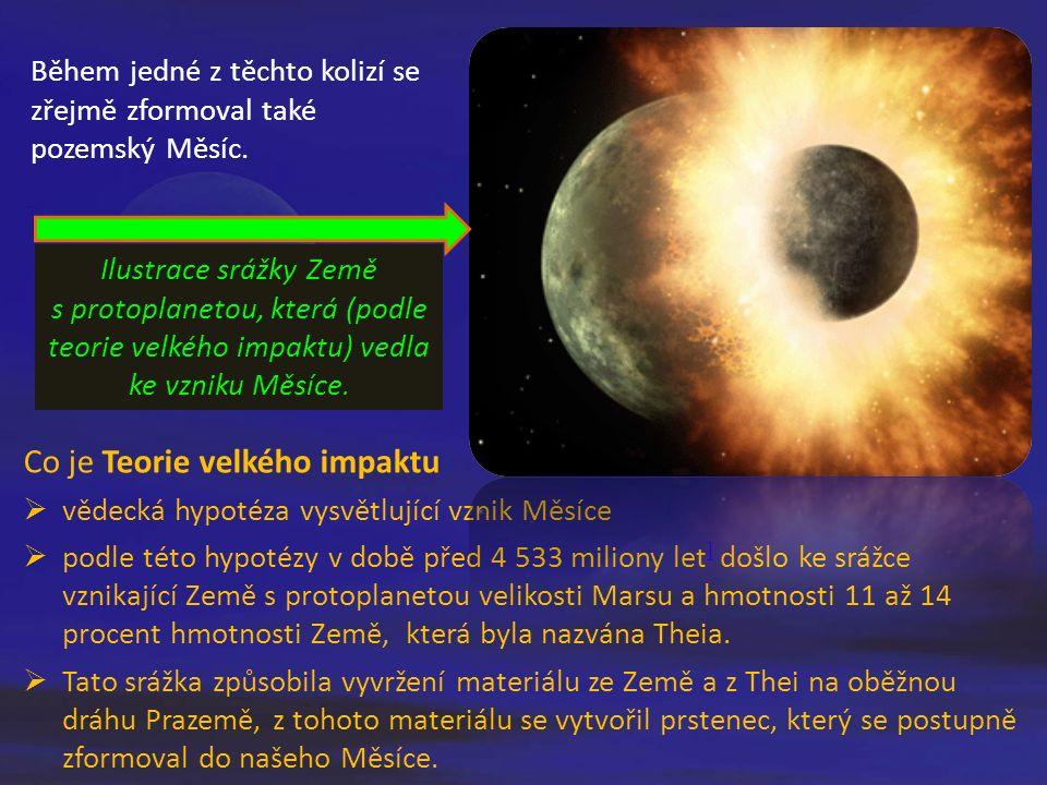 Během jedné z těchto kolizí se zřejmě zformoval také pozemský Měsíc. Co je Teorie velkého impaktu  vědecká hypotéza vysvětlující vznik Měsíce  podle
