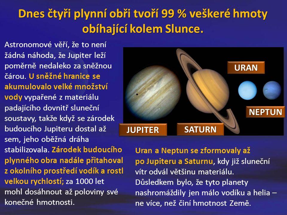 Astronomové věří, že to není žádná náhoda, že Jupiter leží poměrně nedaleko za sněžnou čárou. U sněžné hranice se akumulovalo velké množství vody vypa