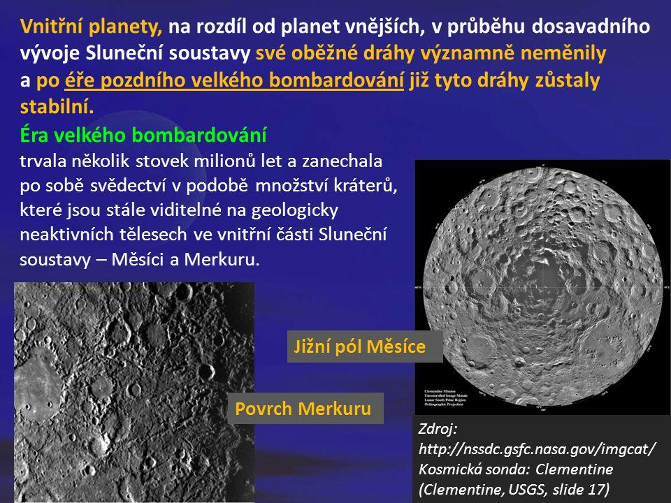 Vnitřní planety, na rozdíl od planet vnějších, v průběhu dosavadního vývoje Sluneční soustavy své oběžné dráhy významně neměnily a po éře pozdního vel