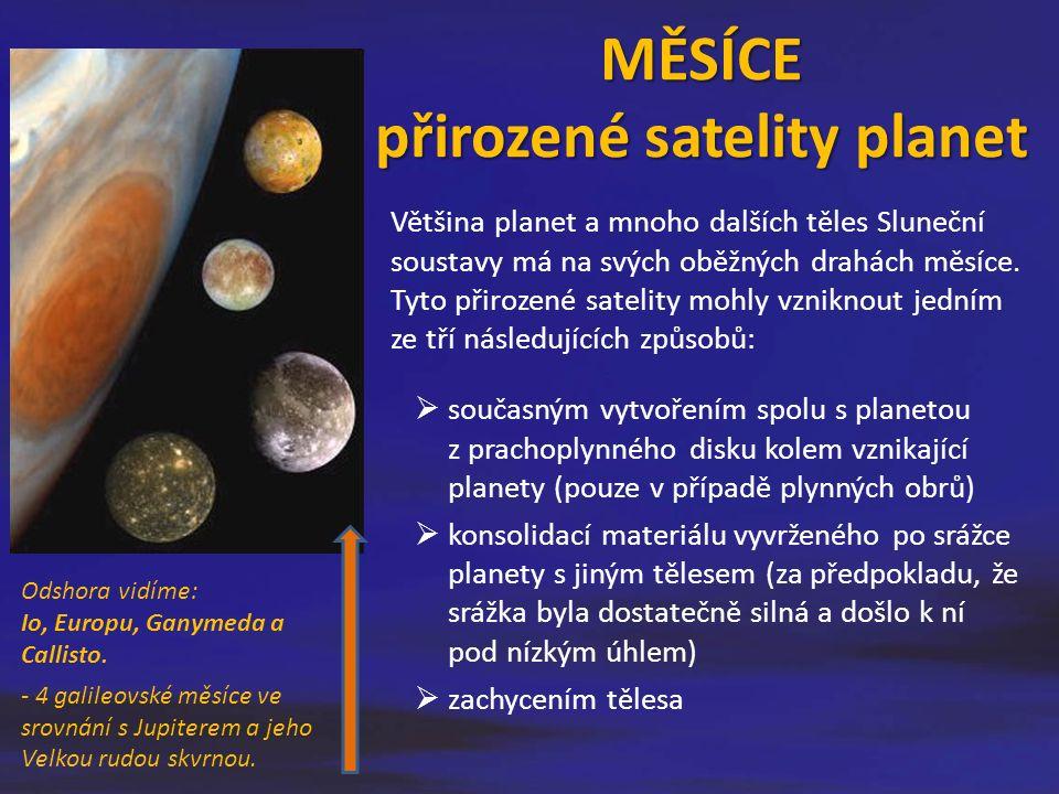 Většina planet a mnoho dalších těles Sluneční soustavy má na svých oběžných drahách měsíce. Tyto přirozené satelity mohly vzniknout jedním ze tří násl