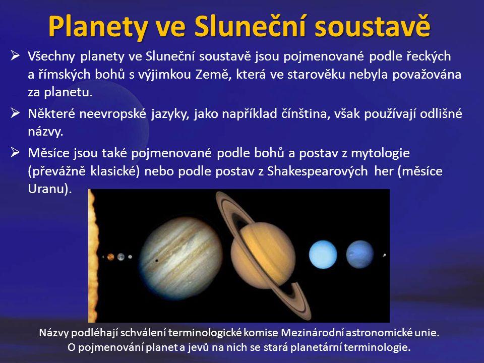 Planety ve Sluneční soustavě  Všechny planety ve Sluneční soustavě jsou pojmenované podle řeckých a římských bohů s výjimkou Země, která ve starověku