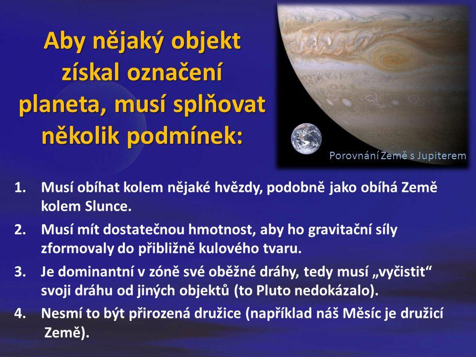 Aby nějaký objekt získal označení planeta, musí splňovat několik podmínek: 1.Musí obíhat kolem nějaké hvězdy, podobně jako obíhá Země kolem Slunce.