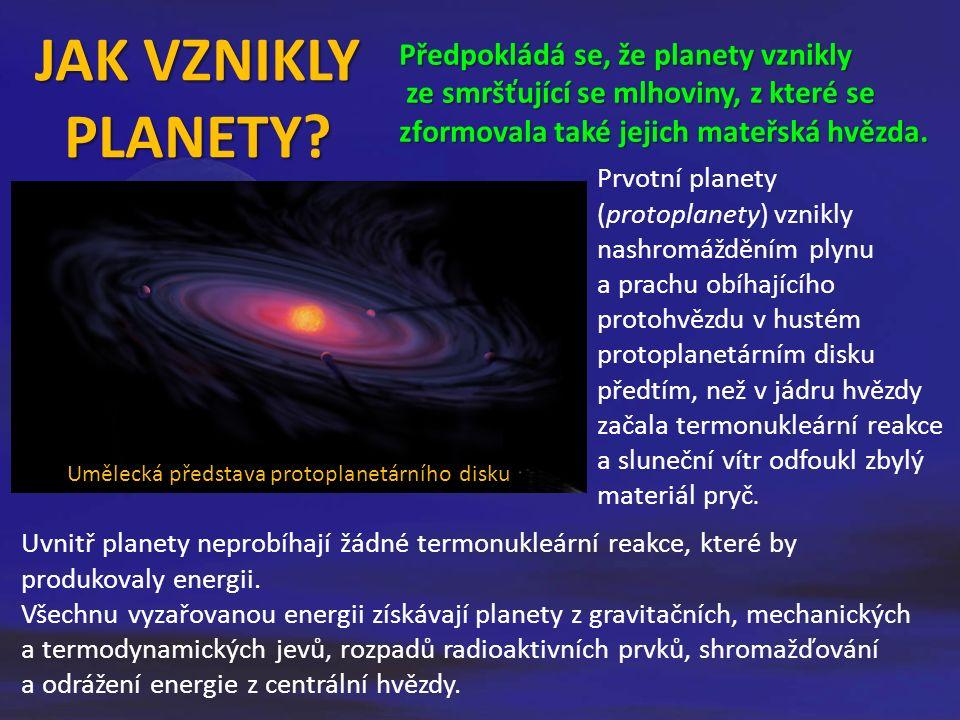 JAK VZNIKLY PLANETY? Předpokládá se, že planety vznikly ze smršťující se mlhoviny, z které se zformovala také jejich mateřská hvězda. Uvnitř planety n