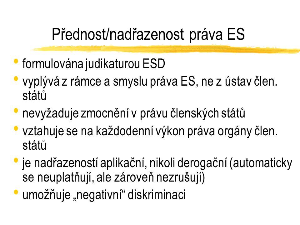 Přednost/nadřazenost práva ES formulována judikaturou ESD vyplývá z rámce a smyslu práva ES, ne z ústav člen.