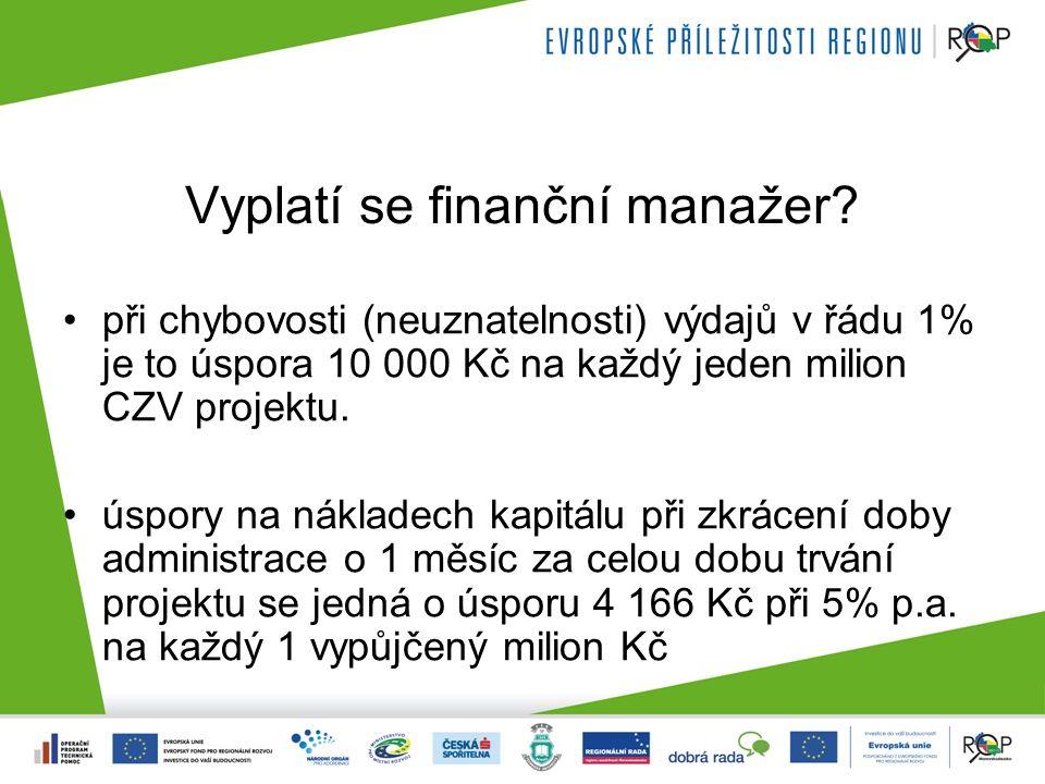 Vyplatí se finanční manažer? při chybovosti (neuznatelnosti) výdajů v řádu 1% je to úspora 10 000 Kč na každý jeden milion CZV projektu. úspory na nák