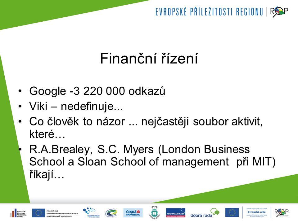 Finanční řízení Google -3 220 000 odkazů Viki – nedefinuje... Co člověk to názor... nejčastěji soubor aktivit, které… R.A.Brealey, S.C. Myers (London