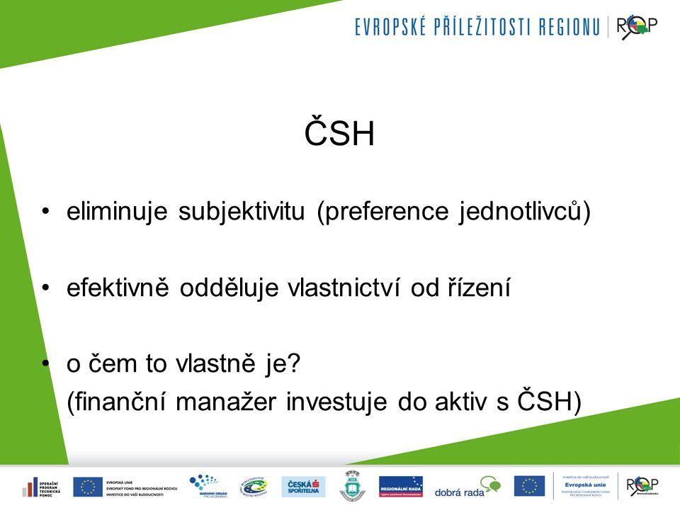ČSH eliminuje subjektivitu (preference jednotlivců) efektivně odděluje vlastnictví od řízení o čem to vlastně je? (finanční manažer investuje do aktiv