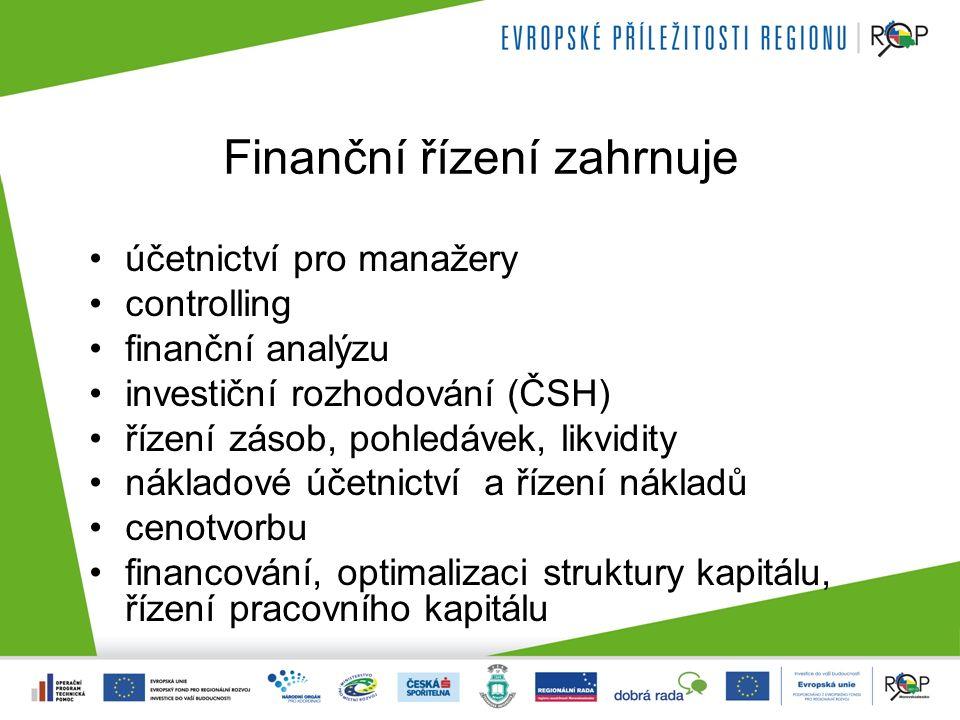 Finanční řízení zahrnuje účetnictví pro manažery controlling finanční analýzu investiční rozhodování (ČSH) řízení zásob, pohledávek, likvidity náklado