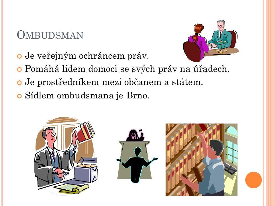 O MBUDSMAN Je veřejným ochráncem práv. Pomáhá lidem domoci se svých práv na úřadech.
