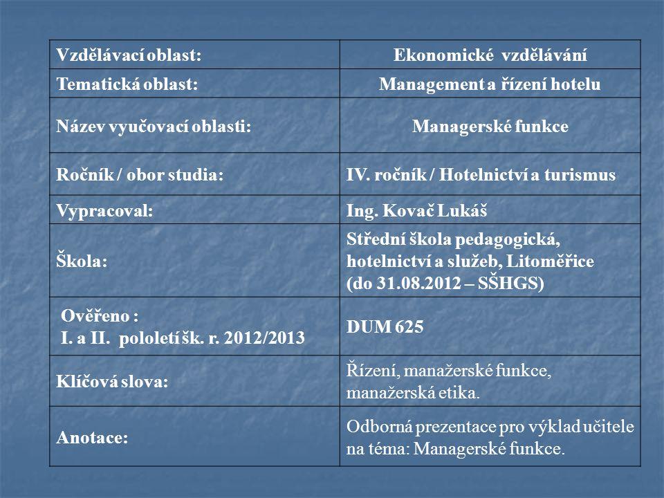 Vzdělávací oblast:Ekonomické vzdělávání Tematická oblast:Management a řízení hotelu Název vyučovací oblasti:Managerské funkce Ročník / obor studia:IV.