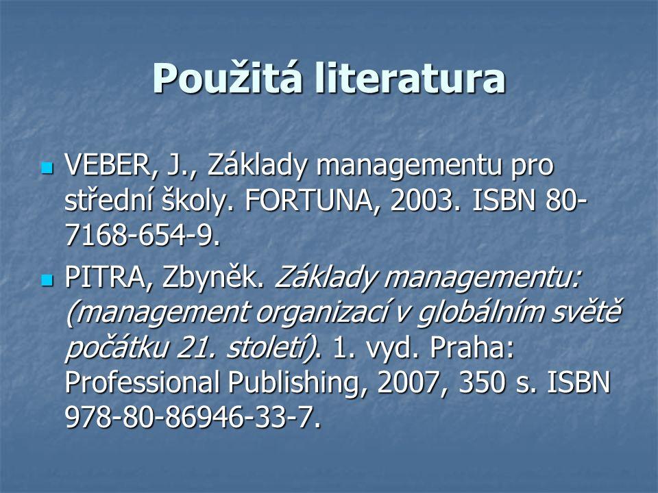 Použitá literatura VEBER, J., Základy managementu pro střední školy.