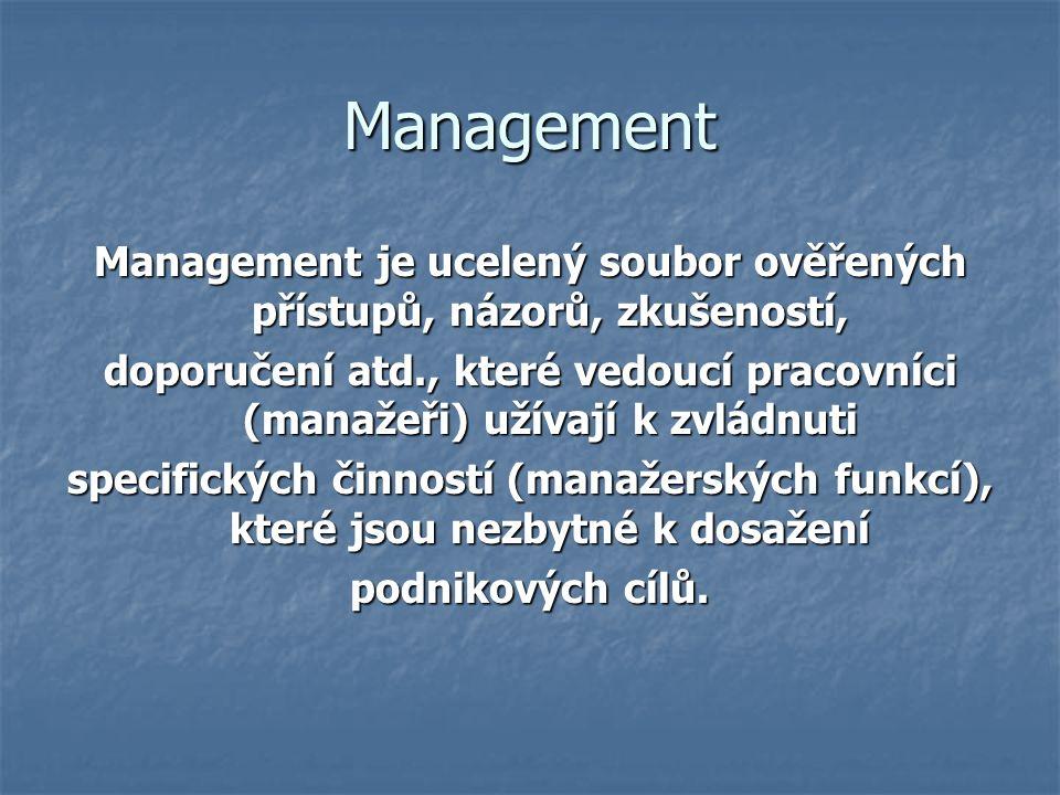 Management Management je ucelený soubor ověřených přístupů, názorů, zkušeností, doporučení atd., které vedoucí pracovníci (manažeři) užívají k zvládnuti specifických činností (manažerských funkcí), které jsou nezbytné k dosažení podnikových cílů.