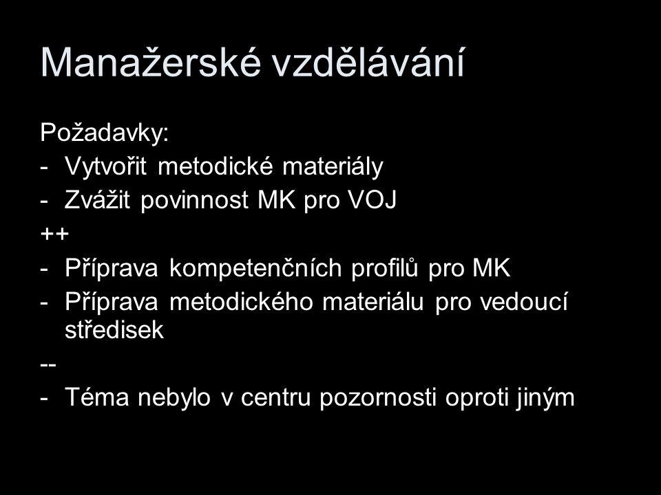 Manažerské vzdělávání Požadavky: -Vytvořit metodické materiály -Zvážit povinnost MK pro VOJ ++ -Příprava kompetenčních profilů pro MK -Příprava metodického materiálu pro vedoucí středisek -- -Téma nebylo v centru pozornosti oproti jiným