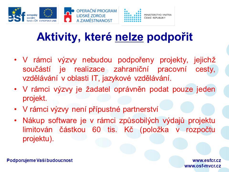 Podporujeme Vaši budoucnostwww.esfcr.cz www.osf-mvcr.cz Aktivity, které nelze podpořit V rámci výzvy nebudou podpořeny projekty, jejichž součástí je realizace zahraniční pracovní cesty, vzdělávání v oblasti IT, jazykové vzdělávání.