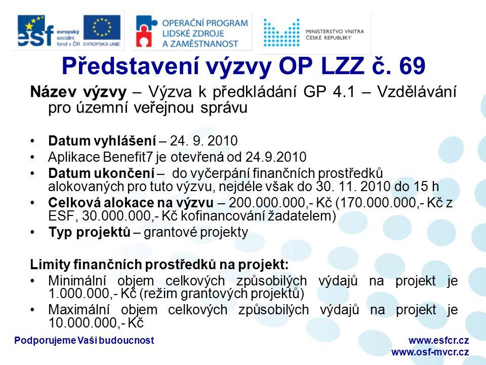 Výzvu naleznete na webu: www.osf-mvcr.cz výzvy/OP LZZ/ Přehled výzev z OP LZZ/Výzva 69 Podporujeme Vaši budoucnostwww.esfcr.cz www.osf-mvcr.cz