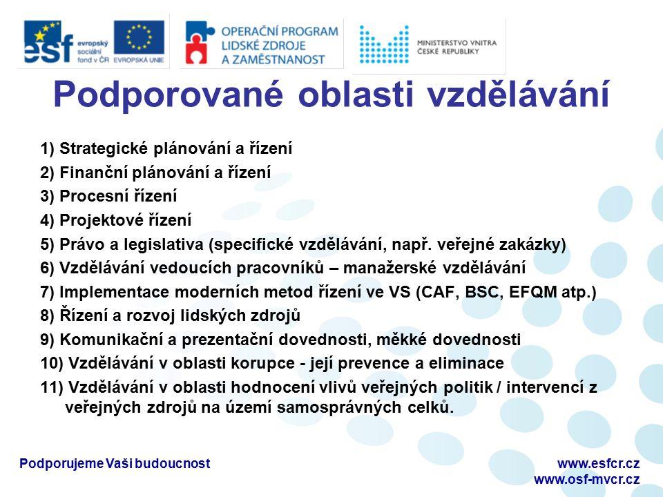 Podporované oblasti vzdělávání 1) Strategické plánování a řízení 2) Finanční plánování a řízení 3) Procesní řízení 4) Projektové řízení 5) Právo a legislativa (specifické vzdělávání, např.