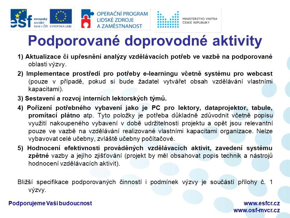 Podporované doprovodné aktivity 1) Aktualizace či upřesnění analýzy vzdělávacích potřeb ve vazbě na podporované oblasti výzvy.