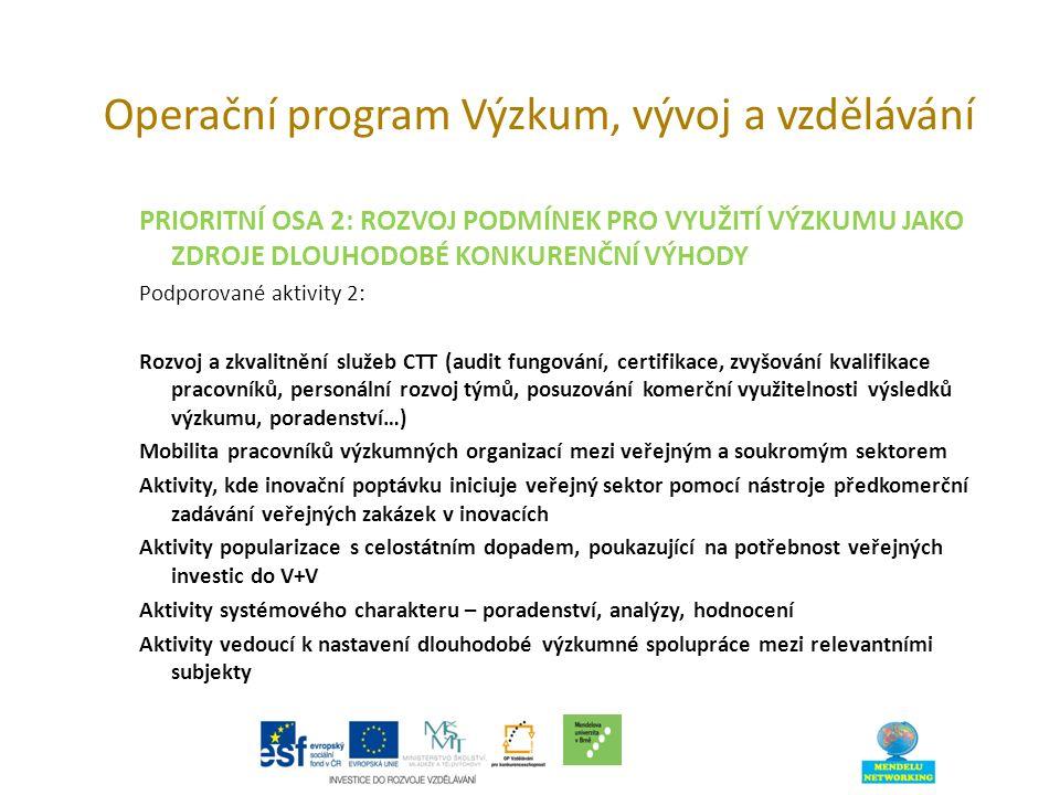 Operační program Výzkum, vývoj a vzdělávání PRIORITNÍ OSA 2: ROZVOJ PODMÍNEK PRO VYUŽITÍ VÝZKUMU JAKO ZDROJE DLOUHODOBÉ KONKURENČNÍ VÝHODY Podporované aktivity 2: Rozvoj a zkvalitnění služeb CTT (audit fungování, certifikace, zvyšování kvalifikace pracovníků, personální rozvoj týmů, posuzování komerční využitelnosti výsledků výzkumu, poradenství…) Mobilita pracovníků výzkumných organizací mezi veřejným a soukromým sektorem Aktivity, kde inovační poptávku iniciuje veřejný sektor pomocí nástroje předkomerční zadávání veřejných zakázek v inovacích Aktivity popularizace s celostátním dopadem, poukazující na potřebnost veřejných investic do V+V Aktivity systémového charakteru – poradenství, analýzy, hodnocení Aktivity vedoucí k nastavení dlouhodobé výzkumné spolupráce mezi relevantními subjekty