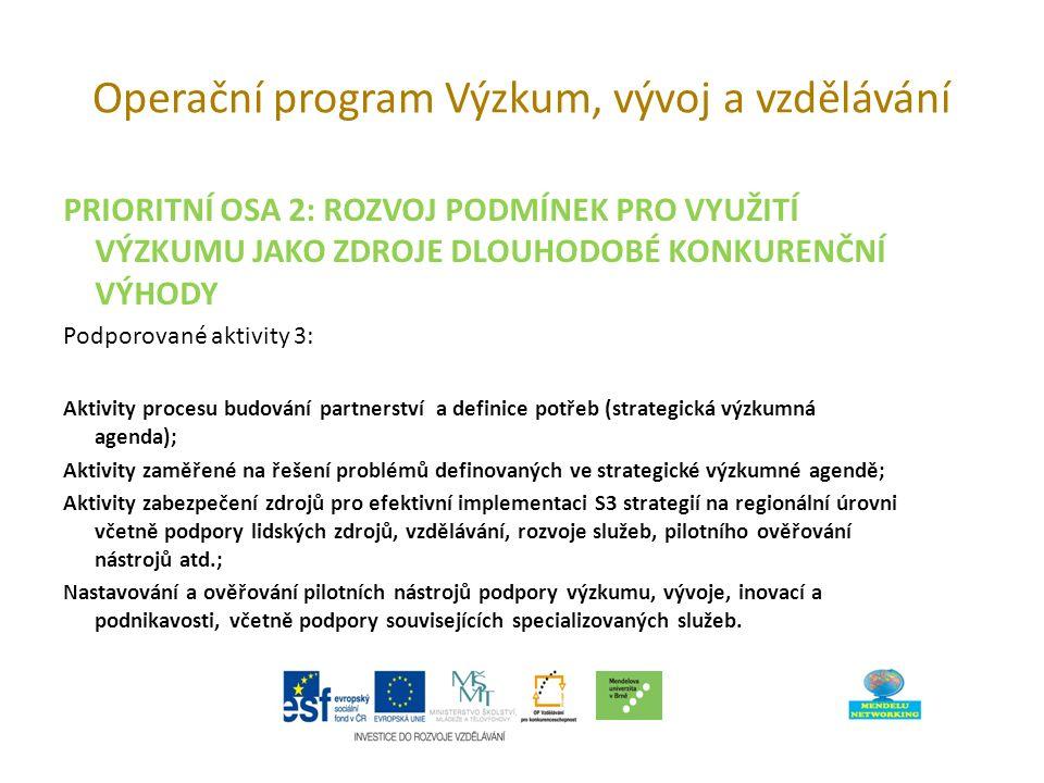 Operační program Výzkum, vývoj a vzdělávání PRIORITNÍ OSA 2: ROZVOJ PODMÍNEK PRO VYUŽITÍ VÝZKUMU JAKO ZDROJE DLOUHODOBÉ KONKURENČNÍ VÝHODY Podporované aktivity 3: Aktivity procesu budování partnerství a definice potřeb (strategická výzkumná agenda); Aktivity zaměřené na řešení problémů definovaných ve strategické výzkumné agendě; Aktivity zabezpečení zdrojů pro efektivní implementaci S3 strategií na regionální úrovni včetně podpory lidských zdrojů, vzdělávání, rozvoje služeb, pilotního ověřování nástrojů atd.; Nastavování a ověřování pilotních nástrojů podpory výzkumu, vývoje, inovací a podnikavosti, včetně podpory souvisejících specializovaných služeb.