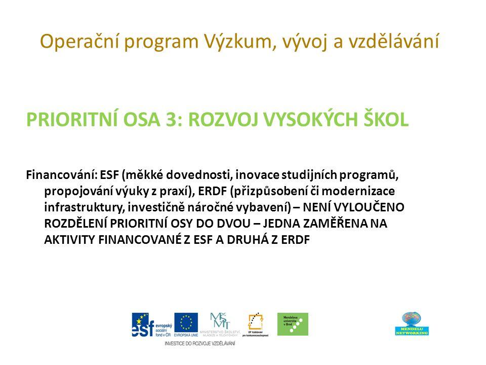 Operační program Výzkum, vývoj a vzdělávání PRIORITNÍ OSA 3: ROZVOJ VYSOKÝCH ŠKOL Financování: ESF (měkké dovednosti, inovace studijních programů, propojování výuky z praxí), ERDF (přizpůsobení či modernizace infrastruktury, investičně náročné vybavení) – NENÍ VYLOUČENO ROZDĚLENÍ PRIORITNÍ OSY DO DVOU – JEDNA ZAMĚŘENA NA AKTIVITY FINANCOVANÉ Z ESF A DRUHÁ Z ERDF