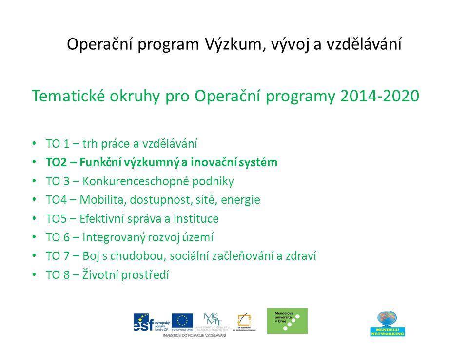 Operační program Výzkum, vývoj a vzdělávání Tematické okruhy pro Operační programy 2014-2020 TO 1 – trh práce a vzdělávání TO2 – Funkční výzkumný a inovační systém TO 3 – Konkurenceschopné podniky TO4 – Mobilita, dostupnost, sítě, energie TO5 – Efektivní správa a instituce TO 6 – Integrovaný rozvoj území TO 7 – Boj s chudobou, sociální začleňování a zdraví TO 8 – Životní prostředí