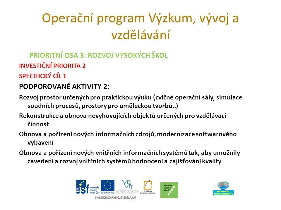 Operační program Výzkum, vývoj a vzdělávání PRIORITNÍ OSA 3: ROZVOJ VYSOKÝCH ŠKOL INVESTIČNÍ PRIORITA 2 SPECIFICKÝ CÍL 1 PODPOROVANÉ AKTIVITY 2: Rozvoj prostor určených pro praktickou výuku (cvičné operační sály, simulace soudních procesů, prostory pro uměleckou tvorbu..) Rekonstrukce a obnova nevyhovujících objektů určených pro vzdělávací činnost Obnova a pořízení nových informačních zdrojů, modernizace softwarového vybavení Obnova a pořízení nových vnitřních informačních systémů tak, aby umožnily zavedení a rozvoj vnitřních systémů hodnocení a zajišťování kvality