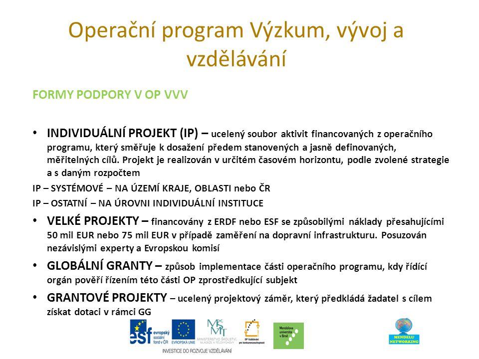 Operační program Výzkum, vývoj a vzdělávání FORMY PODPORY V OP VVV INDIVIDUÁLNÍ PROJEKT (IP) – ucelený soubor aktivit financovaných z operačního programu, který směřuje k dosažení předem stanovených a jasně definovaných, měřitelných cílů.