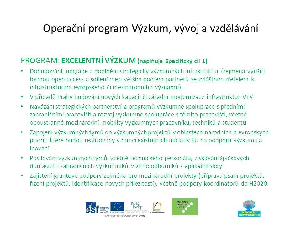 Operační program Výzkum, vývoj a vzdělávání PROGRAM: EXCELENTNÍ VÝZKUM (naplňuje Specifický cíl 1) Dobudování, upgrade a doplnění strategicky významných infrastruktur (zejména využití formou open access a sdílení mezi větším počtem partnerů se zvláštním zřetelem k infrastrukturám evropského či mezinárodního významu) V případě Prahy budování nových kapacit či zásadní modernizace infrastruktur V+V Navázání strategických partnerství a programů výzkumné spolupráce s předními zahraničními pracovišti a rozvoj výzkumné spolupráce s těmito pracovišti, včetně oboustranné mezinárodní mobility výzkumných pracovníků, techniků a studentů Zapojení výzkumných týmů do výzkumných projektů v oblastech národních a evropských priorit, které budou realizovány v rámci existujících iniciativ EU na podporu výzkumu a inovací Posilování výzkumných týmů, včetně technického personálu, získávání špičkových domácích i zahraničních výzkumníků, včetně odborníků z aplikační sféry Zajištění grantové podpory zejména pro mezinárodní projekty (příprava psaní projektů, řízení projektů, identifikace nových příležitostí), včetně podpory koordinátorů do H2020.