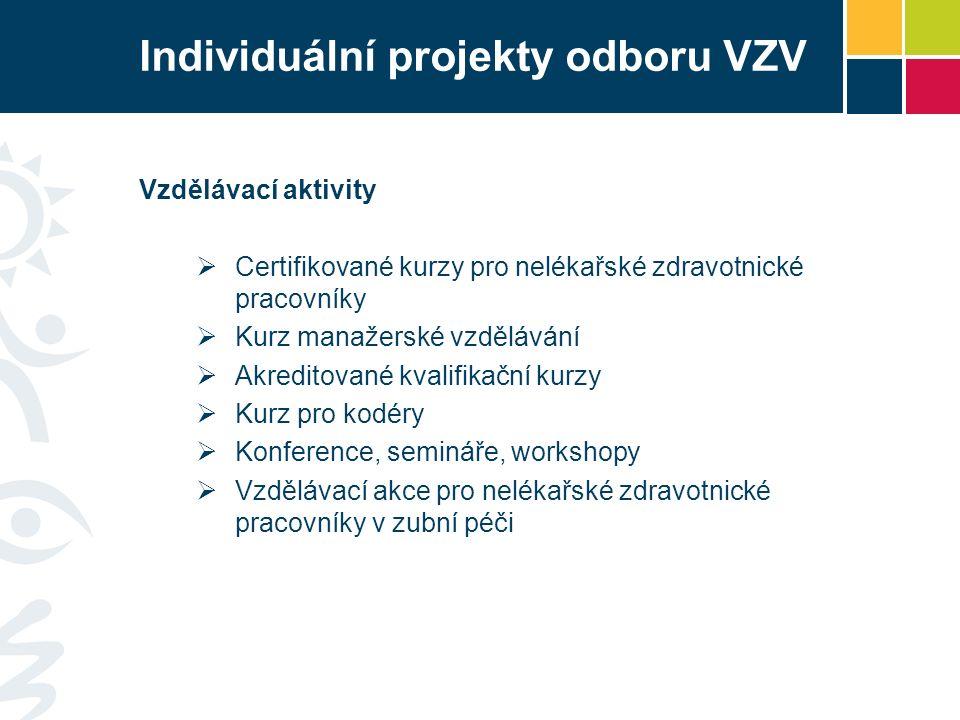 Individuální projekty odboru VZV Vzdělávací aktivity  Certifikované kurzy pro nelékařské zdravotnické pracovníky  Kurz manažerské vzdělávání  Akreditované kvalifikační kurzy  Kurz pro kodéry  Konference, semináře, workshopy  Vzdělávací akce pro nelékařské zdravotnické pracovníky v zubní péči