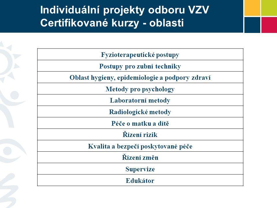 Individuální projekty odboru VZV Certifikované kurzy - oblasti Fyzioterapeutické postupy Postupy pro zubní techniky Oblast hygieny, epidemiologie a po