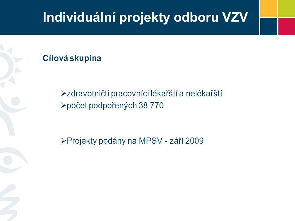 Individuální projekty odboru VZV Cílová skupina  zdravotničtí pracovníci lékařští a nelékařští  počet podpořených 38 770  Projekty podány na MPSV - září 2009