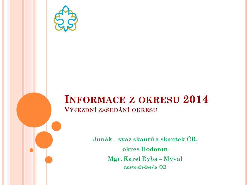 I NFORMACE Z OKRESU 2014 V ÝJEZDNÍ ZASEDÁNÍ OKRESU Junák – svaz skautů a skautek ČR, okres Hodonín Mgr.
