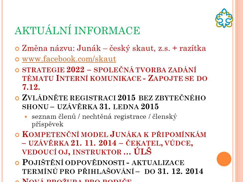 AKTUÁLNÍ INFORMACE Změna názvu: Junák – český skaut, z.s.