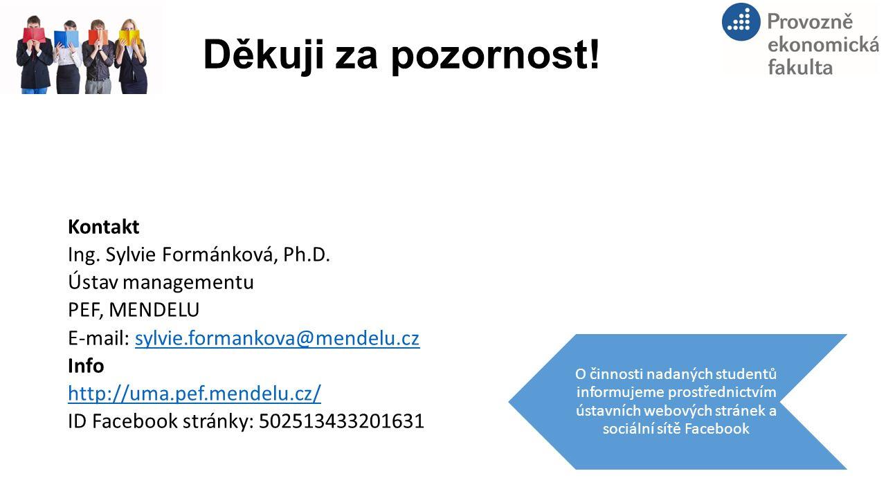 Děkuji za pozornost! Kontakt Ing. Sylvie Formánková, Ph.D. Ústav managementu PEF, MENDELU E-mail: sylvie.formankova@mendelu.czsylvie.formankova@mendel