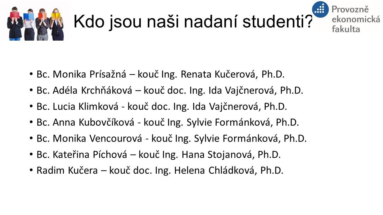 Kdo jsou naši nadaní studenti? Bc. Monika Prísažná – kouč Ing. Renata Kučerová, Ph.D. Bc. Adéla Krchňáková – kouč doc. Ing. Ida Vajčnerová, Ph.D. Bc.