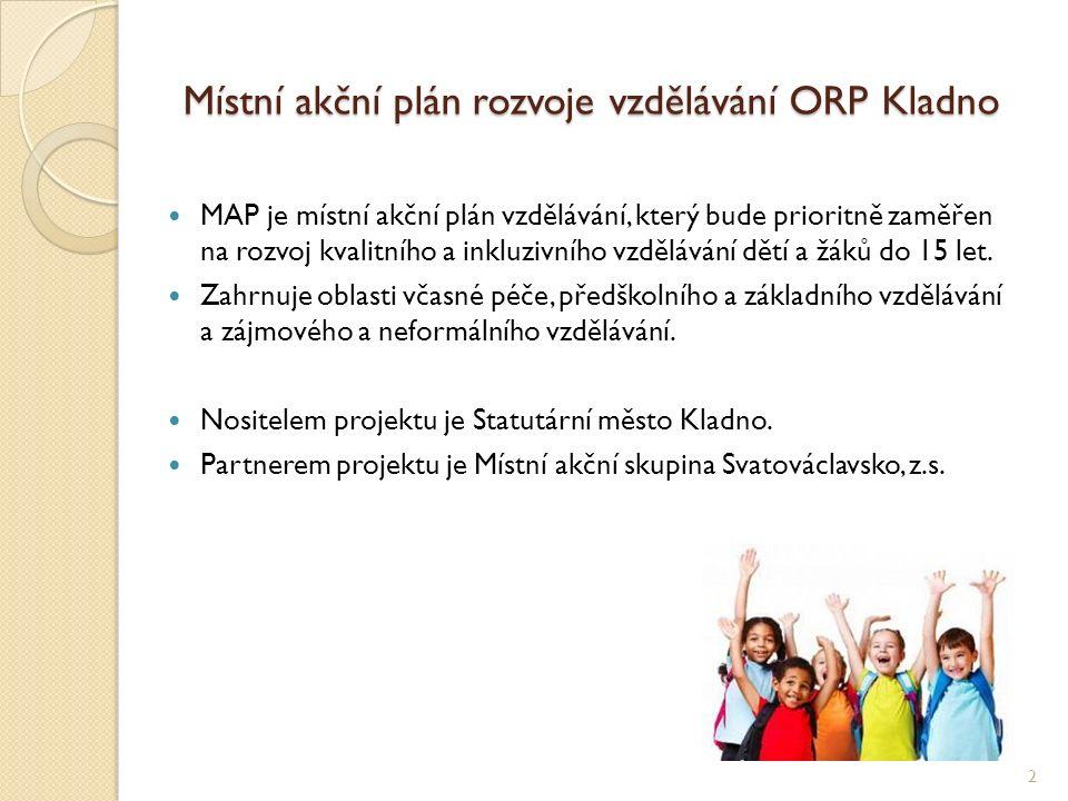 Místní akční plán rozvoje vzdělávání ORP Kladno Cílem MAP je zlepšit kvalitu vzdělávání v MŠ a ZŠ tím, že bude podpořena spolupráce zřizovatelů, škol a ostatních aktérů ve vzdělávání.