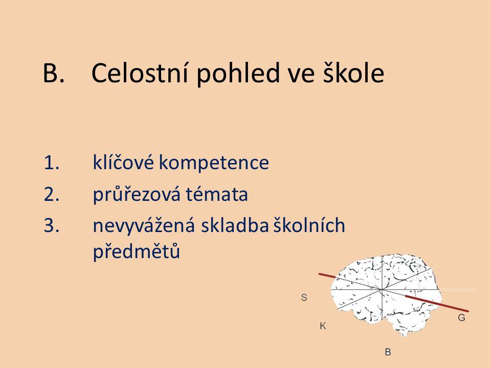 1.klíčové kompetence 2.průřezová témata 3.nevyvážená skladba školních předmětů B.Celostní pohled ve škole