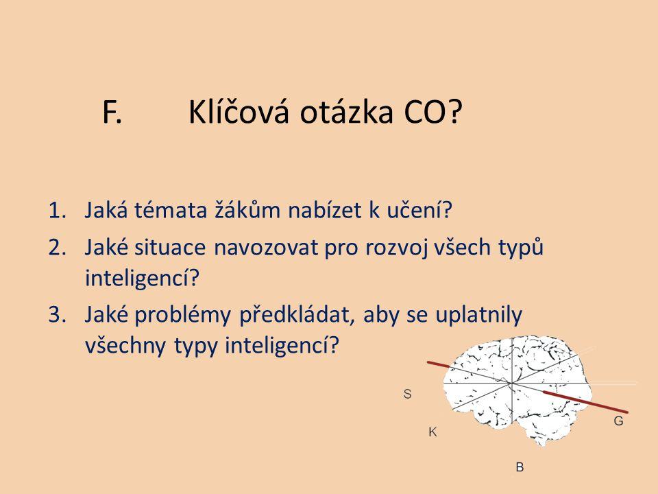 1.Jaká témata žákům nabízet k učení. 2.Jaké situace navozovat pro rozvoj všech typů inteligencí.