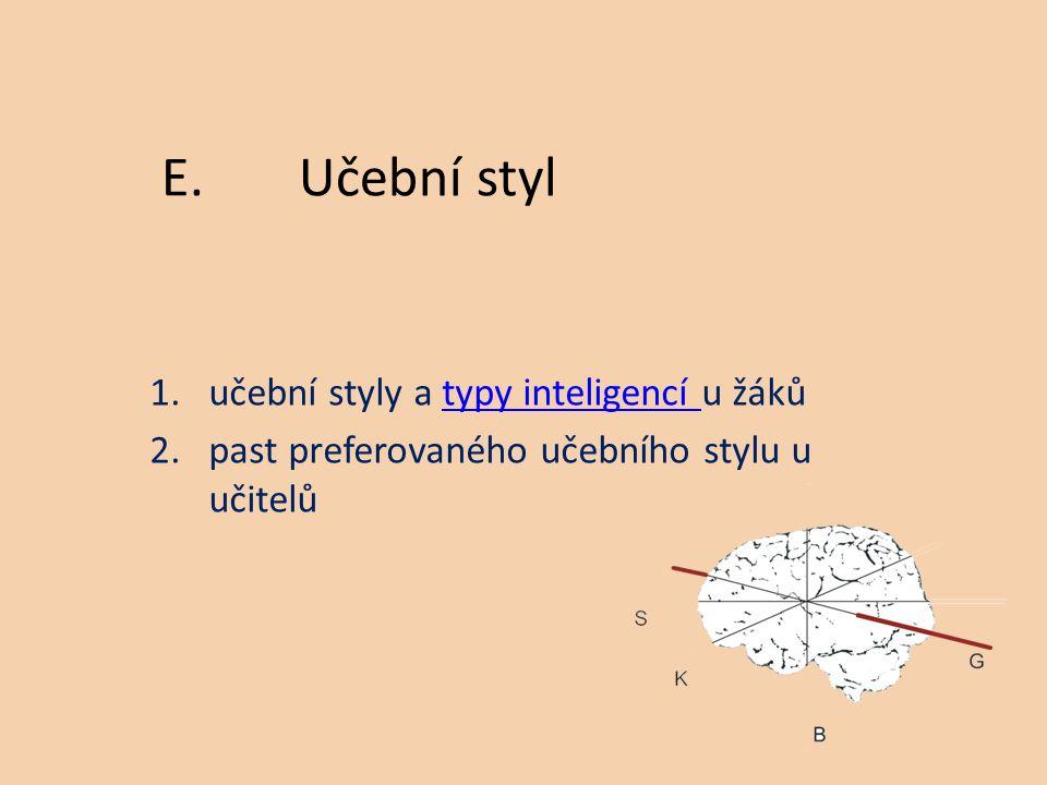 1.učební styly a typy inteligencí u žákůtypy inteligencí 2.past preferovaného učebního stylu u učitelů E.Učební styl
