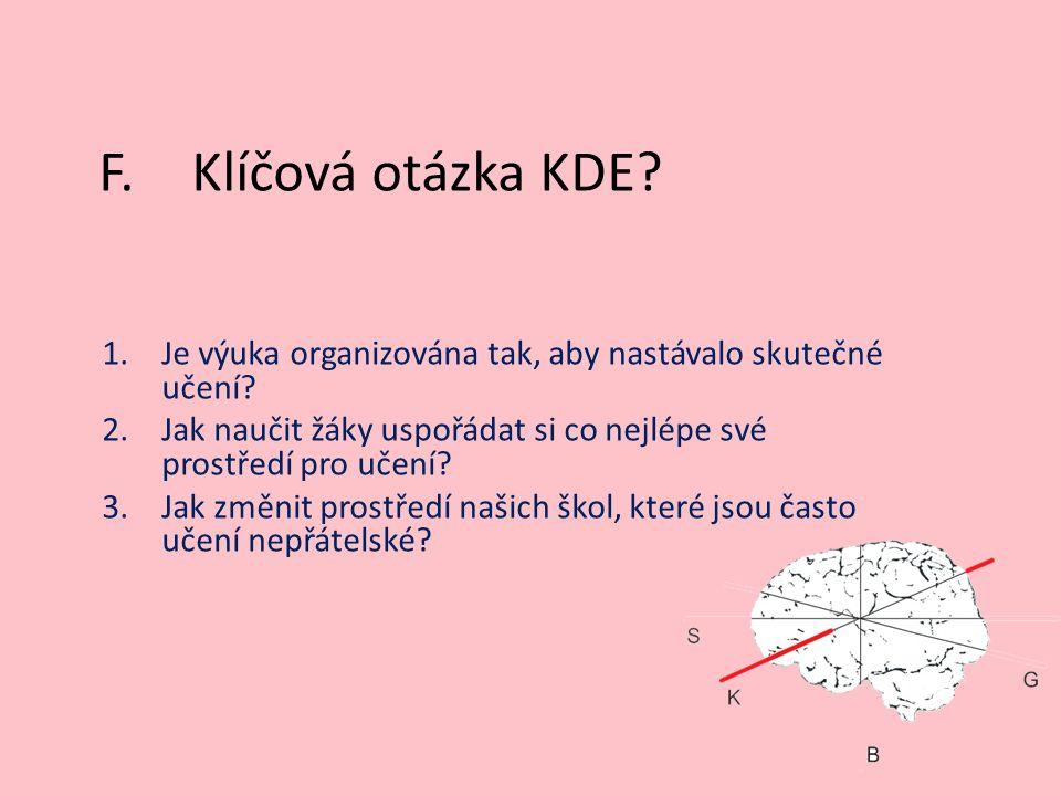 F.Klíčová otázka KDE? 1.Je výuka organizována tak, aby nastávalo skutečné učení? 2.Jak naučit žáky uspořádat si co nejlépe své prostředí pro učení? 3.