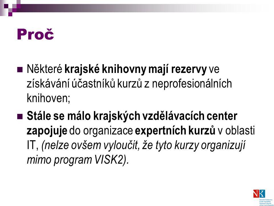 Proč Některé krajské knihovny mají rezervy ve získávání účastníků kurzů z neprofesionálních knihoven; Stále se málo krajských vzdělávacích center zapojuje do organizace expertních kurzů v oblasti IT, (nelze ovšem vyloučit, že tyto kurzy organizují mimo program VISK2).