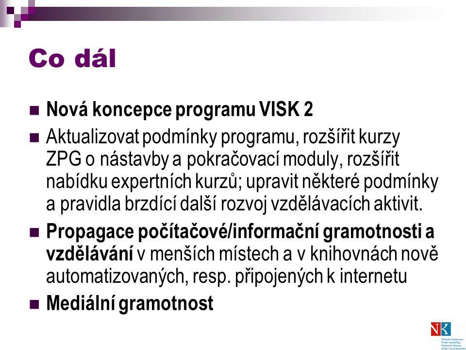 Co dál Nová koncepce programu VISK 2 Aktualizovat podmínky programu, rozšířit kurzy ZPG o nástavby a pokračovací moduly, rozšířit nabídku expertních kurzů; upravit některé podmínky a pravidla brzdící další rozvoj vzdělávacích aktivit.