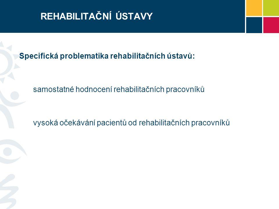 REHABILITAČNÍ ÚSTAVY Specifická problematika rehabilitačních ústavů: samostatné hodnocení rehabilitačních pracovníků vysoká očekávání pacientů od rehabilitačních pracovníků
