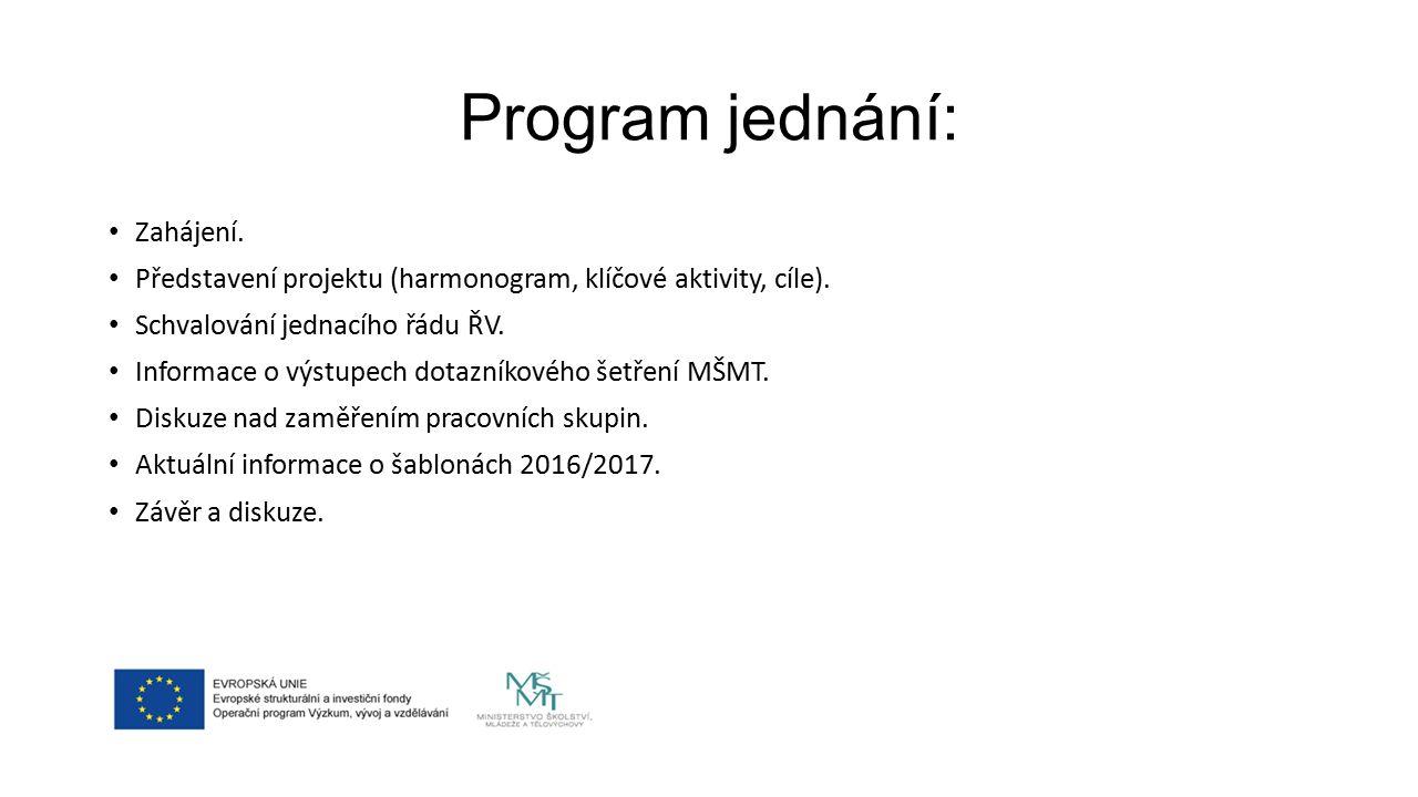 Program jednání: Zahájení.Představení projektu (harmonogram, klíčové aktivity, cíle).