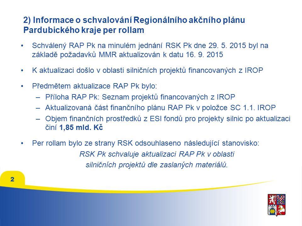 2 2) Informace o schvalování Regionálního akčního plánu Pardubického kraje per rollam Schválený RAP Pk na minulém jednání RSK Pk dne 29.