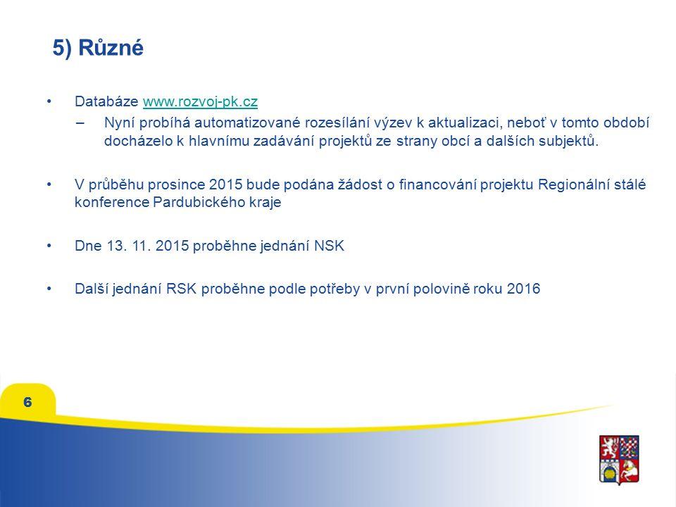 6 5) Různé Databáze www.rozvoj-pk.czwww.rozvoj-pk.cz –Nyní probíhá automatizované rozesílání výzev k aktualizaci, neboť v tomto období docházelo k hlavnímu zadávání projektů ze strany obcí a dalších subjektů.