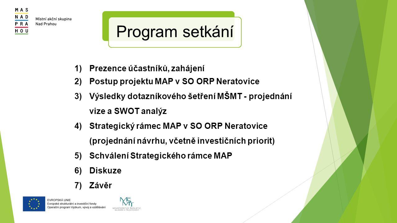1) Prezence účastníků, zahájení 2) Postup projektu MAP v SO ORP Neratovice 3) Výsledky dotazníkového šetření MŠMT - projednání vize a SWOT analýz 4) Strategický rámec MAP v SO ORP Neratovice (projednání návrhu, včetně investičních priorit) 5) Schválení Strategického rámce MAP 6) Diskuze 7) Závěr Program setkání